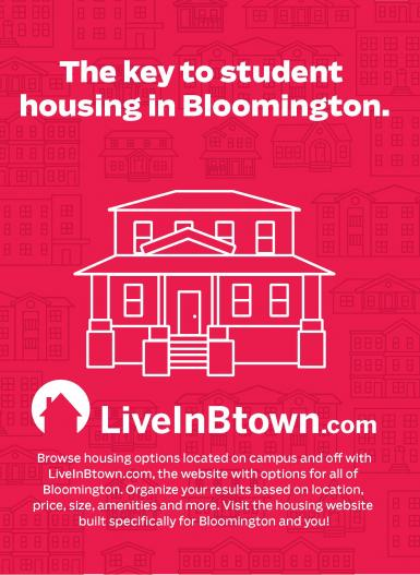 An advertisement featuring illustrations of houses. Text: The key to student housing in Bloomington. LiveInBtown.com. Browse housing options located on campus and off with LiveInBtown.com, the website with options for all of Bloomington. Organize your results based on location, price, size, amenities and more. Visit the housing website built specifically for Bloomington and you!