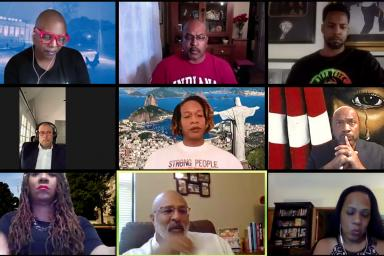 A Zoom call featuring Terri Francis, Jerald Harkness, Anthony Montgomery, Chance Powell, Dara Randolph, Daryl E. Rice, Kimberly King-Jupiter, Quake Pletcher, Tia Cavanaugh-Goggans