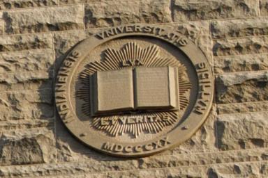 The IU seal in limestone