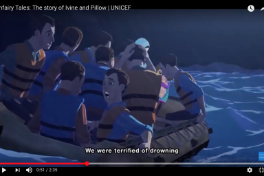 A screenshot from the video 'Unfairy Tales: The Story of Ivine and Pillow, UNICEF.' It shows an illustration of men in a crowded lifeboat. The subtitles say: 'We were terrified of drowning.'