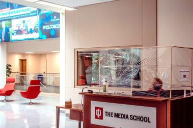 The Media School's front desk, wrapped in plastic