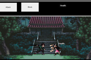 A video game scene. Two characters are fighting. Buttons at the top say