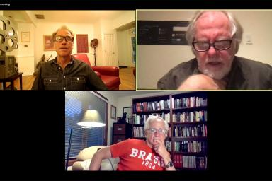 Jon Vickers, Guy Maddin and James Naremore on a Zoom chat