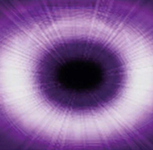 A purple illustration of an eye