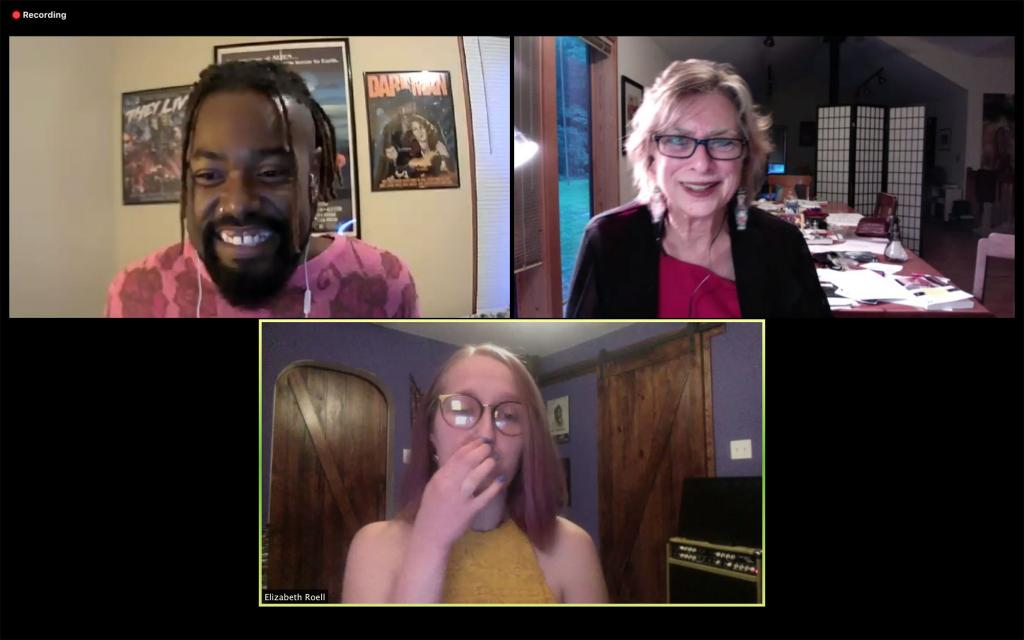 A Zoom conversation between David Carter, Joan Hawkins and Elizabeth Roell