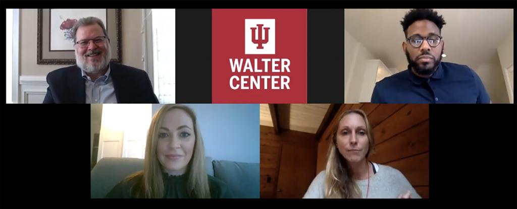 Thom Patterson, the IU Walter Center, Cordell Eddings, Carrie Ritchie and Jamie Luke on a Zoom call.