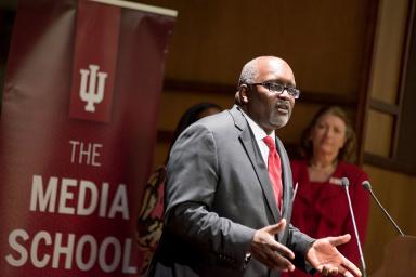 Eric Deggans accepts The Media School's Distinguished Alumni Award.
