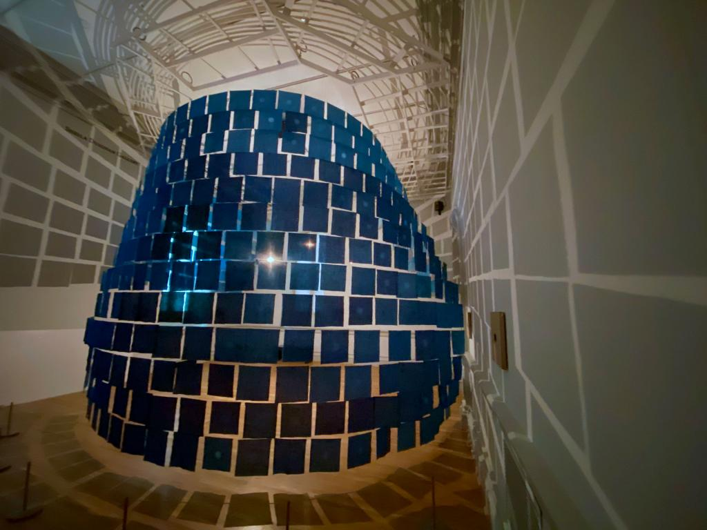 """Media School lecturer Norbert Herber created the sound to accompany this artwork, """"Ai no Keshiki,"""" or """"Indigo Views,"""" now at the Smithsonian American Art Museum. School of Art, Architecture + Design textiles area coordinator Rowland Ricketts created the textile installation. (Installation shot of Forces of Nature: Renwick Invitational 2020, Renwick Gallery of the Smithsonian American Art Museum, 2020, courtesy of the Smithsonian American Art Museum, photo by Ashley Reese.)"""