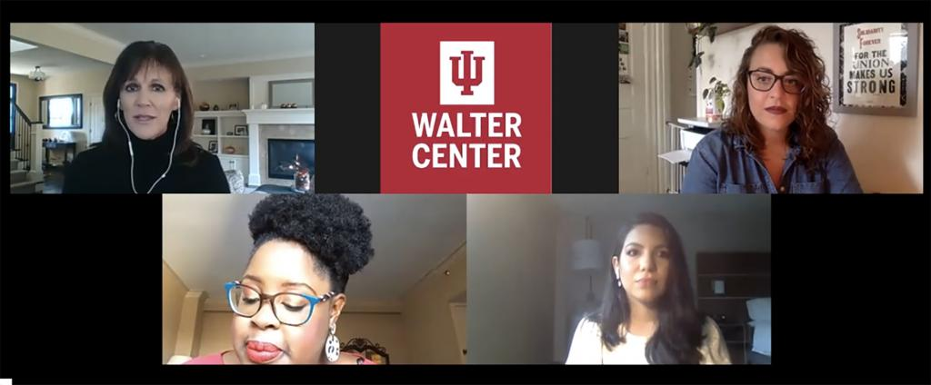 A Zoom call with Michele DeSelms, the IU Walter Center, Katie Mettler, Sia Nyorkor and Araceli-Aldana Gomez.