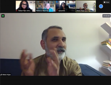 Aijaz Abdul speaks on a Zoom call