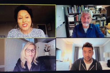 Zoom call with Melanie Sims, Bill Schwab, Molly Watson and Nik Traxler.