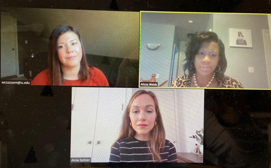 Sarah Cady, Alicia Webb and Anna Spitzer on a Zoom call.