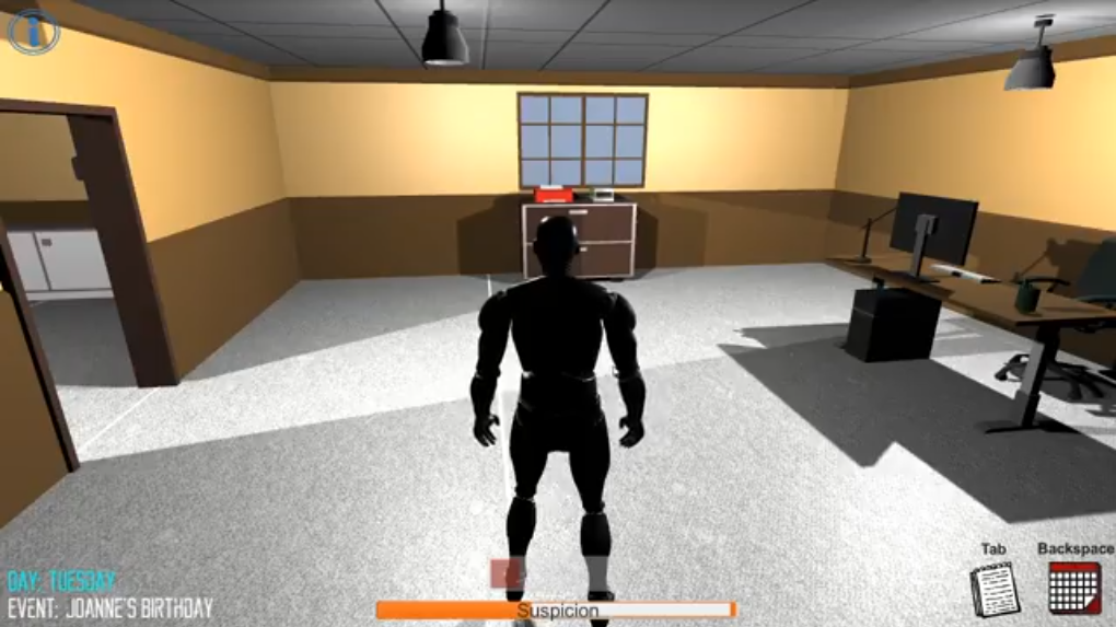 A screenshot from Office Hijinx. A man is standing in an empty office.