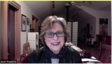 Joan Hawkins on a Zoom call