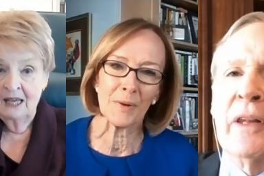 Madeleine Albright, Judy Woodruff and Stephen Hadley