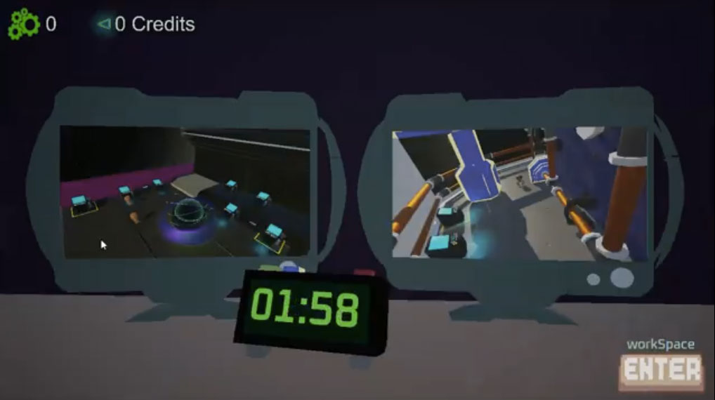 "A screenshot from ""Breach of Space."" Two screens show two different rooms. A clock in front of the screens says: 1:58."