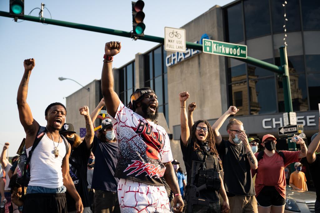 Protestors on Kirkwood Avenue