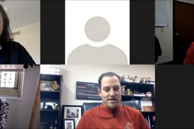 Galen Clavio, John Koluder, Priya Desai, Josh Rawitch and DeAntae Prince on a Zoom call