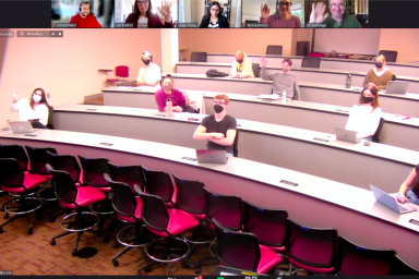 A Zoom call showing a classroom of students