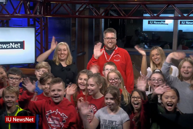 A class from Stalker Elementary School on the set of IU News Net