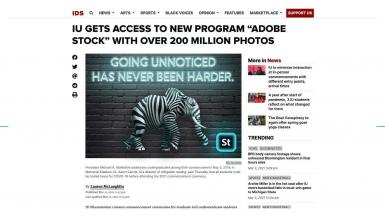 A mockup of an advertisement on the Indiana Daily Student. It shows an elephant with zebra stripes, with the headline: Going Unnoticed Has Never Been Harder.