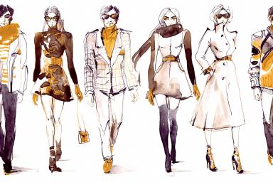 Fashion sketches of eight outfits