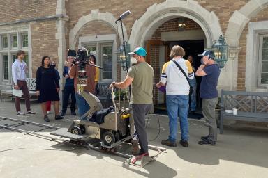 A film crew at Kappa Kappa Gamma