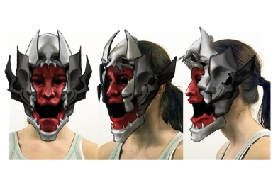 Three mockups of a monster mask on a woman's face
