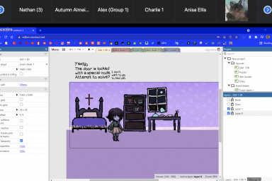 """A screenshot of an online mystery game. It shows a character standing in a locked room. Text reads: """"The door is locked with a special code. Would you like to attempt to solve?"""""""