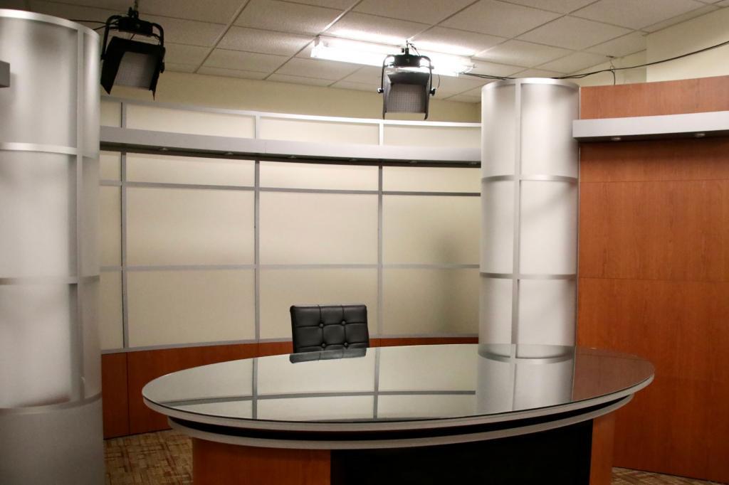 A broadcast news studio