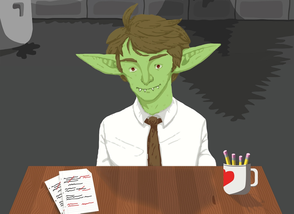 An illustration of a goblin in business attire sitting at a desk.