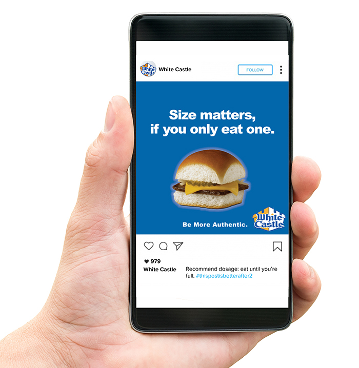 """An iPhone depicting an Instagram ad for White Castle. It depcits a White Castle hamburger with the text: """"Size matters if you only eat one. Be more authentic."""""""